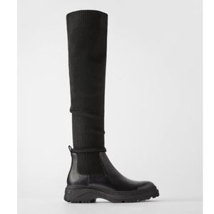 Zara over the knee ribbed sock boots